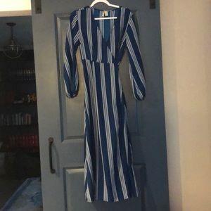Royal Blue long sleeve striped maxi wrap dress